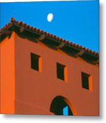 Moon Over Red Adobe Horizontal Metal Print