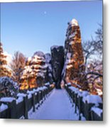 Moon Over Snowy Bastei Bridge Metal Print