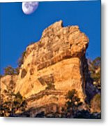 Moon Over The Canyon Metal Print