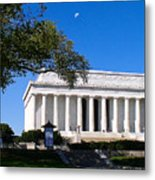 Moon Over The Lincoln Memorial  Metal Print