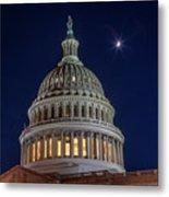 Moon Over The Washington Capitol Building Metal Print
