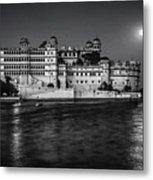 Moon Over Udaipur Bw Metal Print
