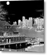 Moon Over Vancouver Metal Print