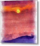 Moon Rise In Aquarelle Metal Print