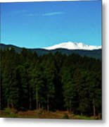Moon Setting Into The Rocky Mountains Metal Print