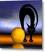 Mooncat's Play With The Fullmoon Metal Print by Issabild -