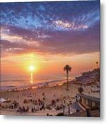 Moonlight Beach Sunset Metal Print