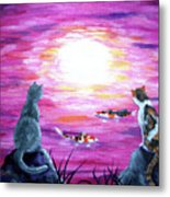 Moonlight On Pink Water Metal Print