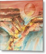 Moonlight Over The Grand Canyon Metal Print