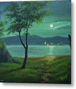 Moonlight Over The Sea Metal Print