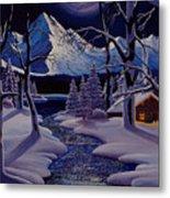 Moonlit Cabin Metal Print