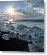 Moonlit Ice Beach Metal Print
