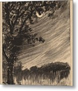 Moonlit Landscape With Tree At The Left Metal Print