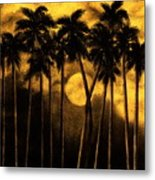 Moonlit Palm Trees In Yellow Metal Print
