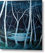 Moonlit Pond Metal Print