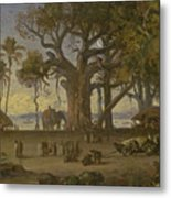 Moonlit Scene Of Indian Figures And Elephants Among Banyan Trees. Upper India Metal Print