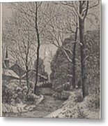 Moonlit Stroll In Winter Metal Print
