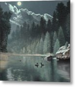 Moonlit Waters-loons Metal Print