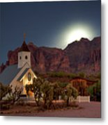 Moonrise At Superstition Mountain Metal Print