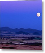 Moonrise Over The Palouse By Jean Noren Metal Print
