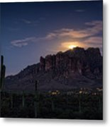 Moonrise Over The Superstitions Metal Print