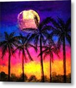Moonrise Over The Tropics Metal Print