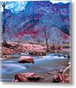 Moonrise Over Zion Metal Print