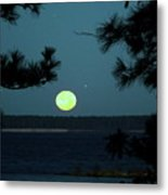 Moonset On Rayburn Lake Metal Print