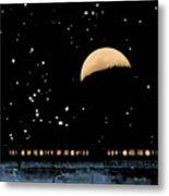 Moonset Over Depot Metal Print
