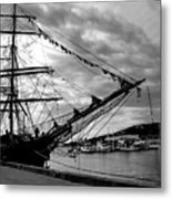 Moored At Hobart Bw Metal Print