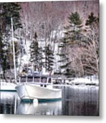 Moored Boats In Maine Winter  Metal Print
