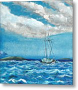 Moored In The Bay Metal Print