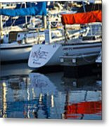 Moored Sailboats Metal Print