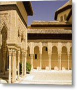 Moorish Architecture In The Nasrid Palaces At The Alhambra Granada Metal Print