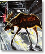 Moose Crossing Metal Print by Jenn Cunningham