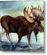 Moose Reflections Metal Print