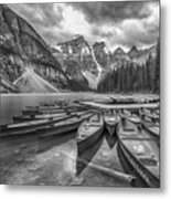 Moraine Lake In Black And White Metal Print