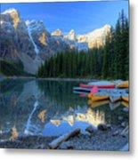 Moraine Lake Sunrise Blue Skies Canoes Metal Print