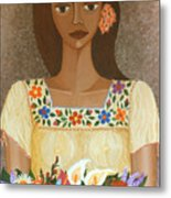 More Than Flowers She Sold Illusions Metal Print