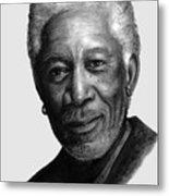 Morgan Freeman Charcoal Portrait Metal Print