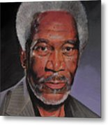 Morgan Freeman Portrait Metal Print