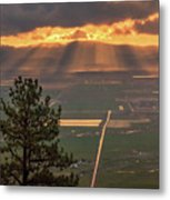 Morning Angel Lights Over The Valley Metal Print