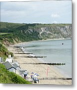 Morning Bay Pt Looking Up Swanage Bay On A Summer Morning Beach Scene Metal Print