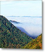 Morning Fog At Sunrise In Autumn Metal Print