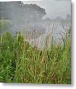 Morning Fog On Glacial Park Pond Metal Print