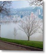 Morning Fog Over City Of Portland Skyline Metal Print