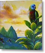 Morning Glory - St. Lucia Parrots Metal Print