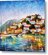 Morning Harbor - Palette Knife Oil Painting On Canvas By Leonid Afremov Metal Print