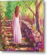Morning In Her Garden Metal Print