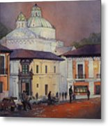 Morning In The Plaza- Quito, Ecuador Metal Print